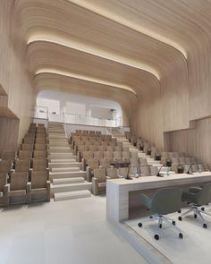 New Doha City Stadium Office Interior Design, Office Interiors, Plan Hotel, Conference Room Design, School Building Design, Auditorium Design, Hospital Design, Hall Design, Ceiling Design
