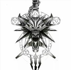 The Witcher Wild Hunt, The Witcher 3, Witcher Tattoo, Witcher Wallpaper, One Piece Tattoos, Witcher Art, Forearm Tattoo Design, Gaming Tattoo, Wall Drawing