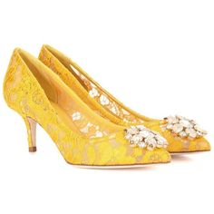 Dolce & Gabbana Bellucci Embellished Lace Pumps ($855) ❤ liked on Polyvore featuring shoes, pumps, yellow, embellished shoes, yellow pumps, yellow shoes, embellished pumps and lacy shoes