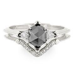 Black Hexagon Diamond Engagement Ring- Victoria Setting, 14K White Gold - Point No Point Studio - 1
