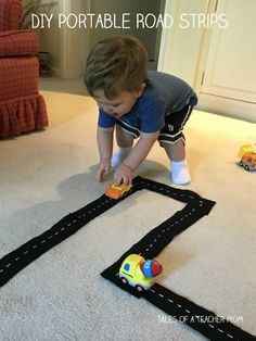 DIY Portable Road Strips - Great travel activity