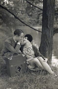 1920's couple - rolled hose!