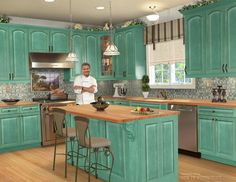 Turquoise Kitchen Decor With Classic Style Kitchen And Laminate ...