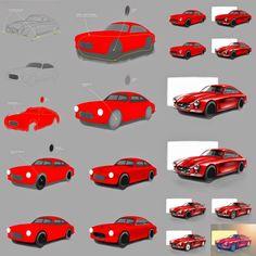 CAR DESIGN CORE - Here and Now!: TUTORIAL 2   Maserati Zagato Rendering by Marcin Wasilewski Digital Painting Tutorials, Digital Art Tutorial, Car Design Sketch, Car Sketch, Sketching Techniques, Rendering Techniques, Brand Magazine, Graffiti Pictures, Sketches Tutorial