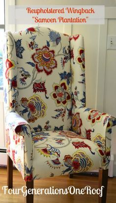 Four Generations under on Roof:: DIY Reupholster wing back chair Tutorial {featured in Woman's Day Magazine}