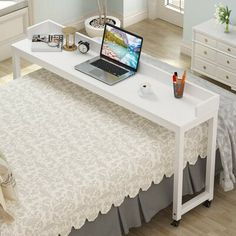 Overbed Table with Wheels, Tribesigns Queen Size Mobile Desk with Heavy-Duty Metal Legs, Works as Pub Table, Counter Height Dining Table or Computer Table Desk, Super Sturdy and Stable (White) Home Bedroom, Bedroom Decor, Bedroom Ideas, Diy Bedroom Projects, Desk In Bedroom, Mobile Desk, Mobile Table, New Room, Home Organization