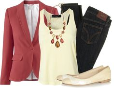 """""""Blazer & Ballet Flats"""" by qtpiekelso on Polyvore"""