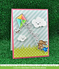 the Lawn Fawn blog:Make Me Smile, Simple Puffy Clouds & Yay, Kites! Card by Kelly Marie Alvarez.