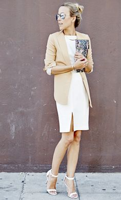 white dress, camel cardigan, white strappy sandals, office wear,