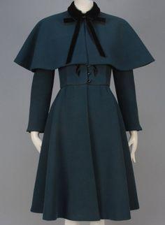 Nina Ricci Bottle Green Wool Coat 1950s Vintage Clothing