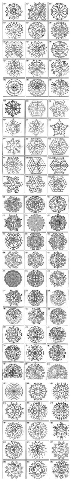 Over 1400 free crochet motif, afghan squares, coasters, snowflakes, doilies, triangles stitch chart diagram patterns. Great for baby blankets, afghans, table cloths, towel edging, Christmas. ornaments etc. by Sara-Marie Coetzee