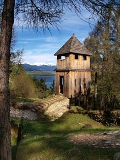 Reconstructed medieval wooden fortification in the outdoor archeological museum of Celtic culture located on Havranok hill near Liptovska Mara lake in Slovakia.