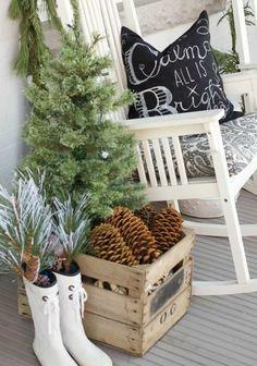 Petit sapin et des pommes de pin pour décorer la terrasse