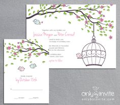 turquoise wedding invitation and info card | love bird wedding, Wedding invitations