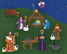 Nativity Designed By The Perler Design Team Create your own nativity scene in Perler Beads. You can paint a backdrop as we did and place the figures in your own arrangement. A great family project for the holidays! Melty Bead Patterns, Pearler Bead Patterns, Perler Patterns, Pearler Beads, Fuse Beads, Beading Patterns, Perler Bead Designs, Hama Beads Design, Christmas Perler Beads