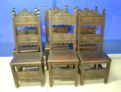 6 sedie neorinascimentali '800 in faggio scolpite
