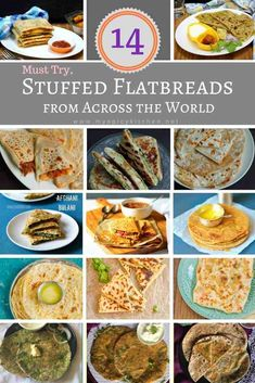 Looking for stuffed flatbreads from across the world? Here is a roundup of 14 stuffed flatbread recipes great for breakfast, snack and for a light meal. Lunch Recipes, Dinner Recipes, Cooking Recipes, Flour Recipes, Holiday Recipes, World Street Food, Flatbread Recipes, World Recipes, Light Recipes