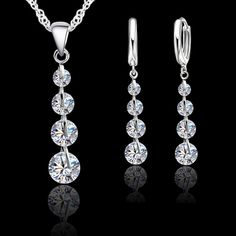 [Visit to Buy] Jemmin Romantic 925 Sterling Silver Link Chain Crystal Pendant Jewelry Set For Women Choker Wedding Jewelry Set Women's Jewelry Sets, Wedding Jewelry Sets, Bridal Jewelry, Fine Jewelry, Women Jewelry, Bridal Belts, Chain Jewelry, Crystal Pendant, Crystal Jewelry