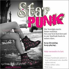 90s star punk goth rocker clothing 90s Stars, Punk Boots, Keep Dreaming, Rocker Outfit, 90s Nostalgia, Gothic, Memories, Unisex, Clothing