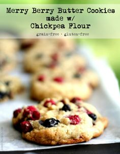Merry Berry Butter Cookies made w/ Chickpea Flour {gluten-free + grain-free} | power hungry
