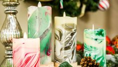 DIY Marble Christmas flameless Candle with nail polish. Home & Family TV