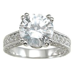 Rhodium Finish Sterling Silver Cubic Zirconia Antique-style Wedding Ring