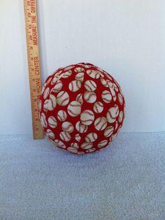"""Baseballs on Red"" Balloon Ball by KerrysCrafts, $6.95"