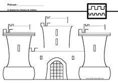 Graphisme GS et MS : lignes brisées Chateau Moyen Age, Grande Section, Château Fort, Kindergarten Activities, Colouring Pages, Learn To Draw, Fine Motor Skills, Kids Learning, Knight