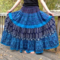 Skirt women handmade patchwork long super by urbanprairiegirl, $99.00