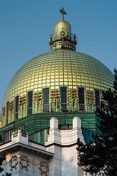 Gilded dome of the Steinhof Church in Vienna | Otto Wagner's Kirche am Steinhof, the first church building of Modernity. This church is considered as one of the most important Art Nouveau churches in the world.