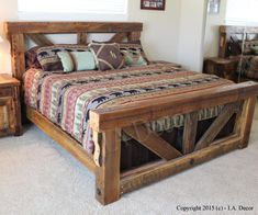 Big Timber Trestle Bed Frame Reclaimed Wood Timber Frame Bed We only make a few of these beds a year! This massive bed frame design is inspired from old trestle bridges. It is made from rustic pine and fir. These big 6 Rustic Bedroom Furniture, Rustic Bedding, Pallet Furniture, Furniture Plans, Furniture Design, Diy Bedroom, Bedroom Rustic, Luxury Furniture, Unique Furniture