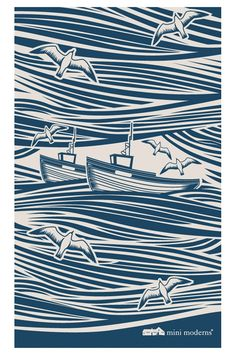 Mini Moderns | Whitby Tea Towel - Indigo