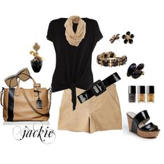 """Summer Black and Tan"" by jackie22 on Polyvore"