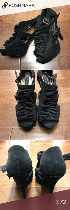 Steven Madden Luxe line - Suede Black Ruffle Heel ❌NO LOW BALL offers❌ ✖️ no trades  🔵use offer button ✔️ price firm on items $25 or below ✔️please read descriptions and let me know if you need more info  These are hot! Gone are my days of flying to LA for swank nights in swanky places so I'm ready to part with these! Good condition and the front ruffle is adorable! So sassy! For ref: I'm usually always a 7 but 7.5 in tennis shoes. Steve Madden Shoes Heels