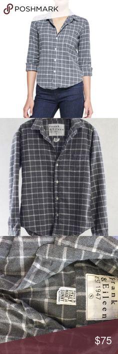 Frank & Eileen grey & white plaid flannel long slv Super soft Italian flannel. Never worn! frank & eileen Tops Button Down Shirts