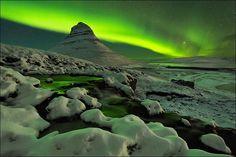 Neve e aurora bureal por D-P #Photography