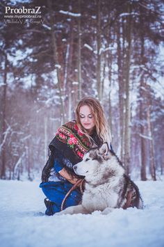 Шикарная зимняя фотосессия с участием аляскинского маламута | Фото хаски и маламуты