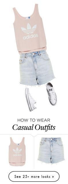 """Casual Summer"" by aubreyethanschmid on Polyvore featuring adidas, Topshop, Converse, Summer, love and ADDIDAS"