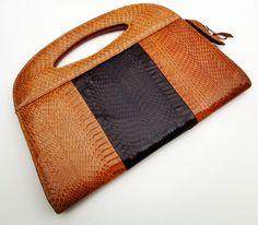 vintage MODERNIST SNAKESKIN bag 1970s  vintage by JojosJewelbox, $120.00