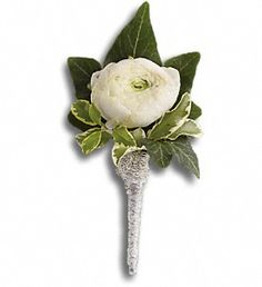 White ranunculus for the boutonniere