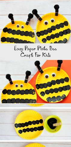 These paper plate bees make a fun and easy spring or summer craft for preschoolers and older kids. Bee Crafts For Kids, Spring Crafts For Kids, Summer Crafts, Preschool Crafts, Paper Bowls, Paper Plates, Cool Diy, Mushroom Crafts, Bee Painting