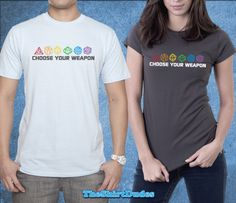 Choose your weapon sided dices t-shirt