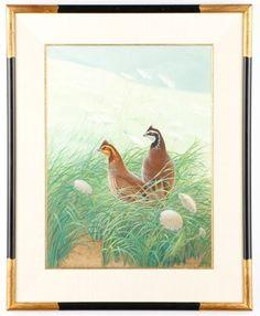 Athos Menaboni, Quail Gouache Painting, Signed : Lot 765. Hammer Price: $4,500