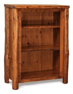 Rustic Log Furniture 3 Shelf Bookcase Choose rustic aspen, cedar or pine wood for this rustic bookcase. When you want an outdoorsy, natural look for your den or office, here's just the right Amish made bookcase!
