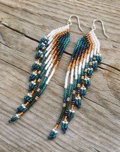 Items similar to Seed Bead Earrings, Fringe Earrings, Long Beaded Earrings, Gold Earrings, Peacock Earrings, Asymmetrical Earrings, Statement Jewelry on Etsy