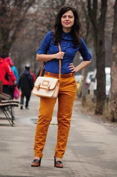 mustard zara pants and polka dots blue shirt
