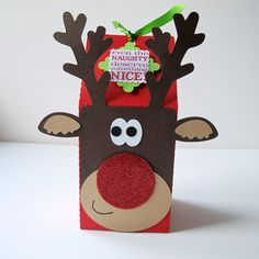 Rudolph Christmas Party/Gift/Treat Boxes x 10 on Etsy, $21.53