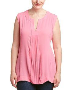 360def64c83 Melissa McCarthy Seven7 Womens Plus Size Split Neck Pleated High Low Tank  Azalea Pink 2X