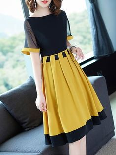 Black-Yellow Midi Dress A-line Daily Statement Paneled Dress