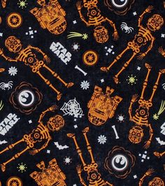 Halloween Fabric Witches Bats Ghosts Orange FQ Half Metre or Metres 100/% Cotton